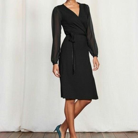 6656979bc53 Boden Dresses   Skirts - BODEN black wrap dress sheer sleeves